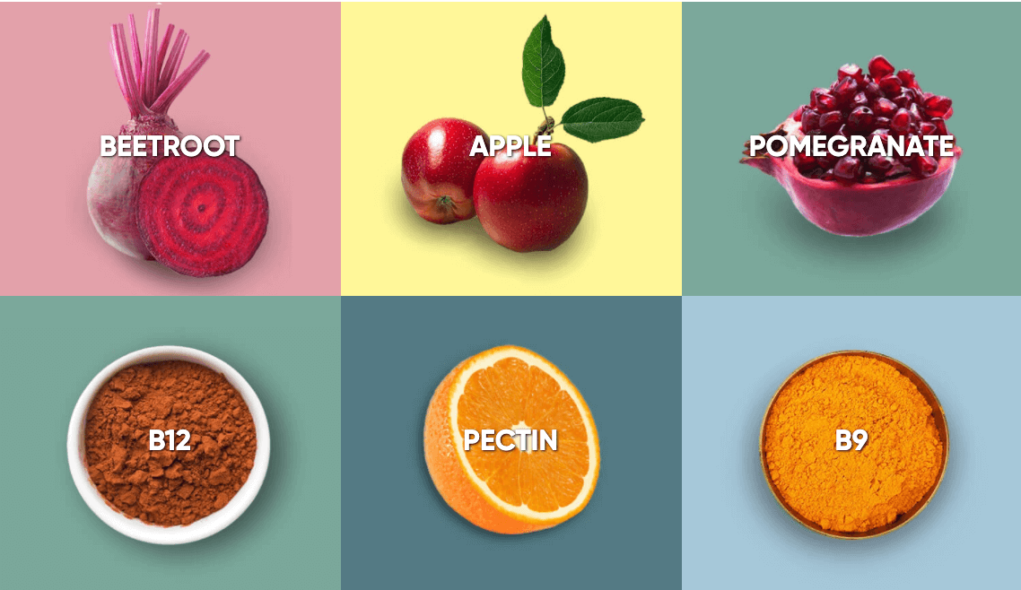 Ingredients of Goli as Beet Root, apple, pomegranate, B12, Pectic and B9